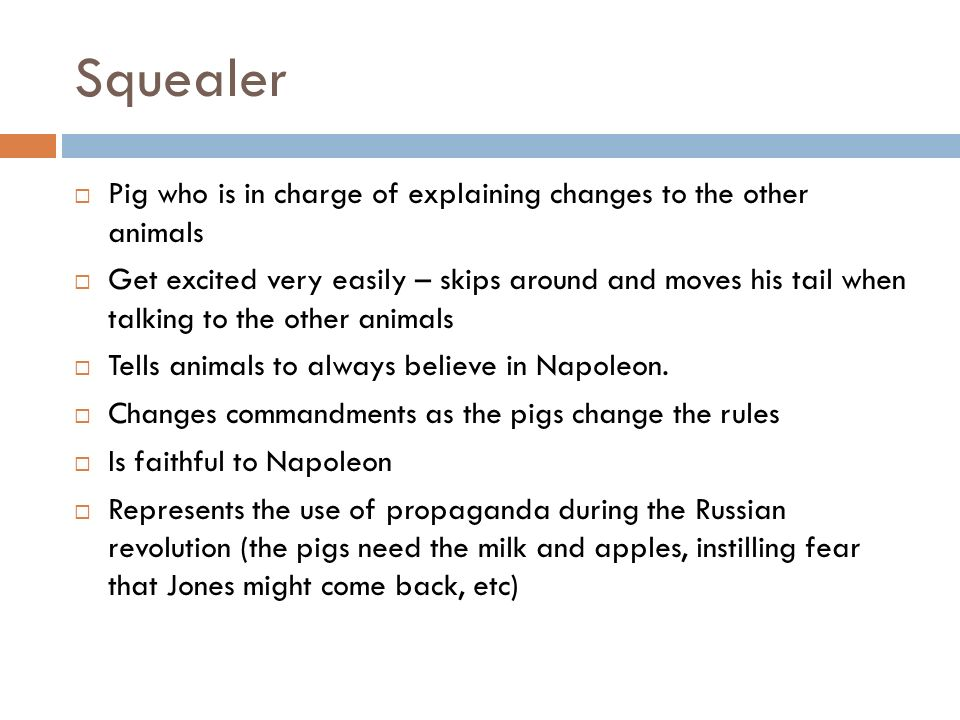 Squealer Pig who is in charge of explaining changes to the other animals.