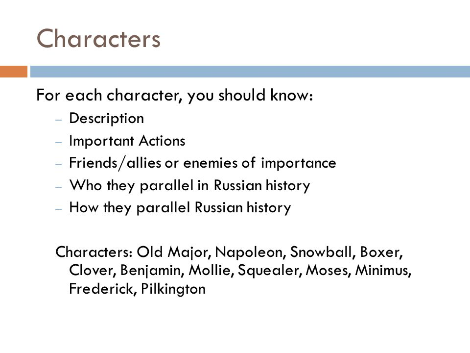 Characters For each character, you should know: Description
