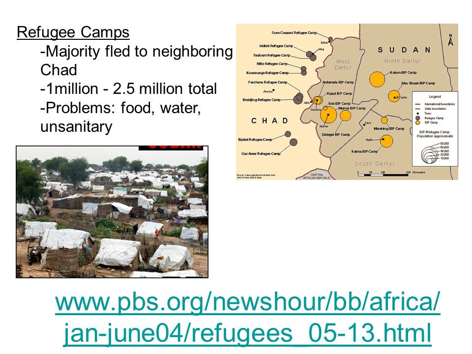 Refugee Camps -Majority fled to neighboring Chad. -1million - 2.5 million total. -Problems: food, water, unsanitary.