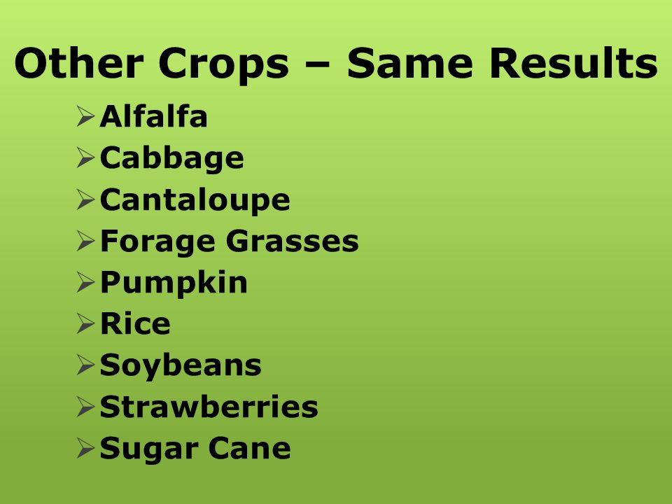 Other Crops – Same Results