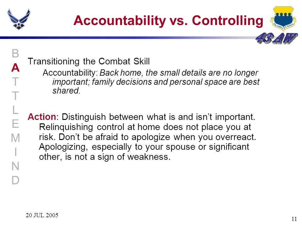 Accountability vs. Controlling