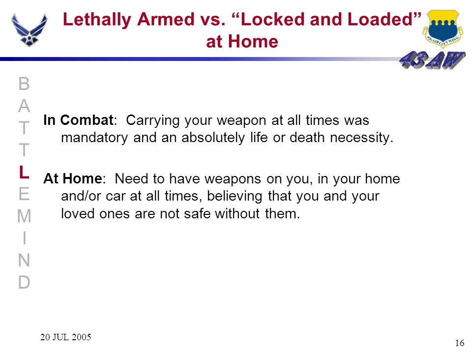 Lethally Armed vs. Locked and Loaded at Home