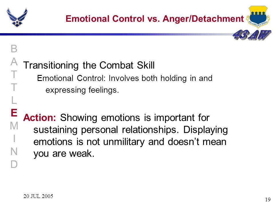 Emotional Control vs. Anger/Detachment