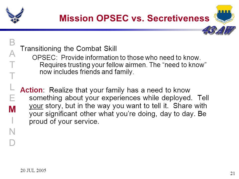 Mission OPSEC vs. Secretiveness
