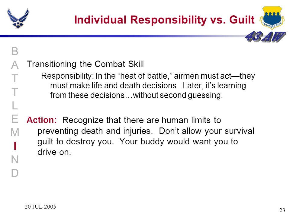 Individual Responsibility vs. Guilt