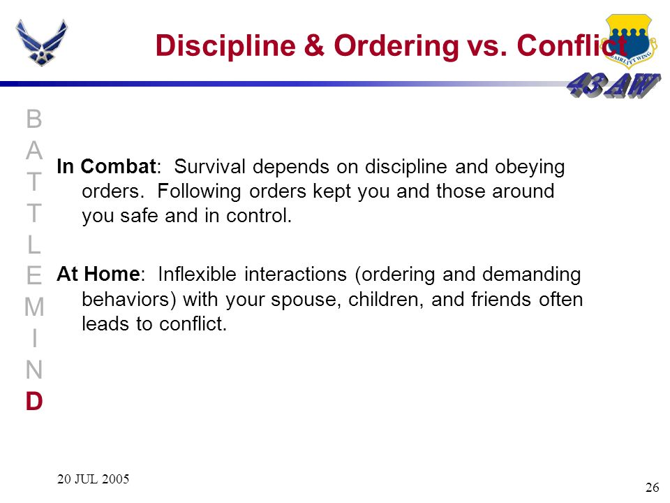 Discipline & Ordering vs. Conflict