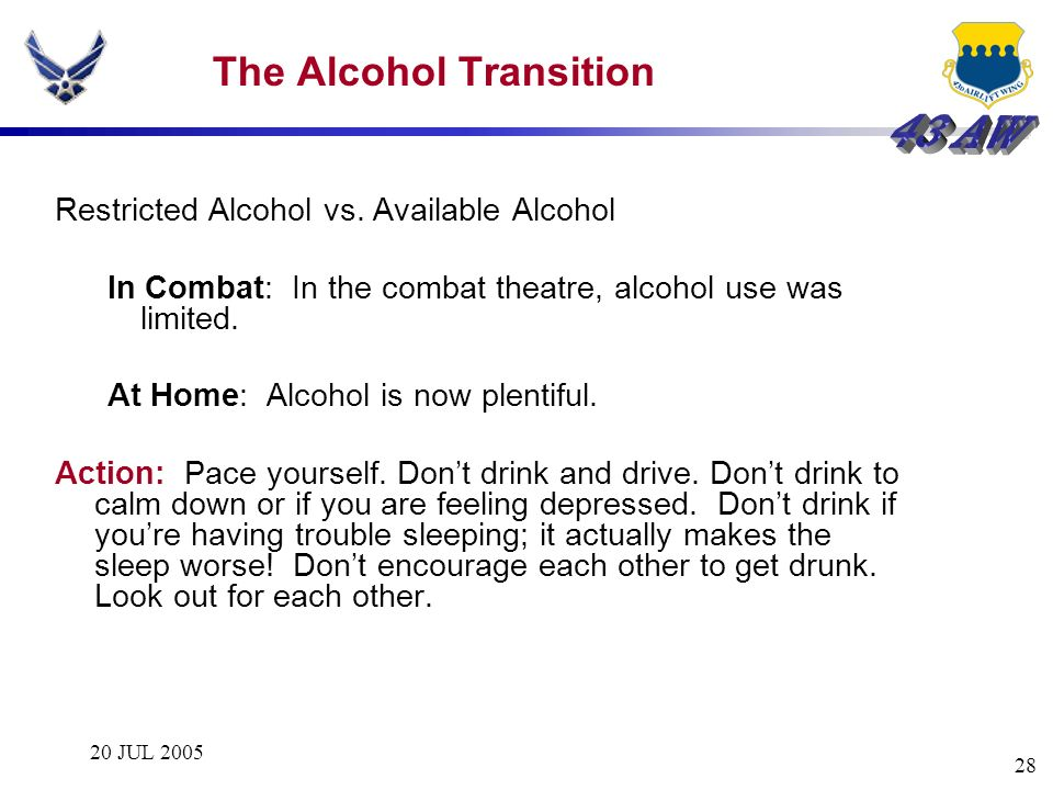The Alcohol Transition