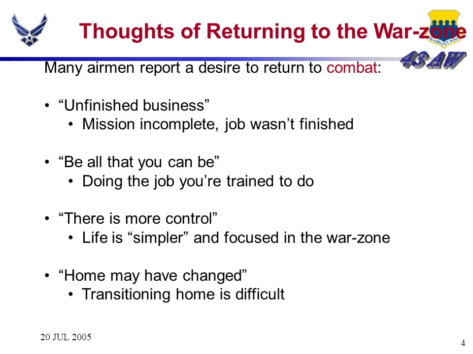 Thoughts of Returning to the War-zone