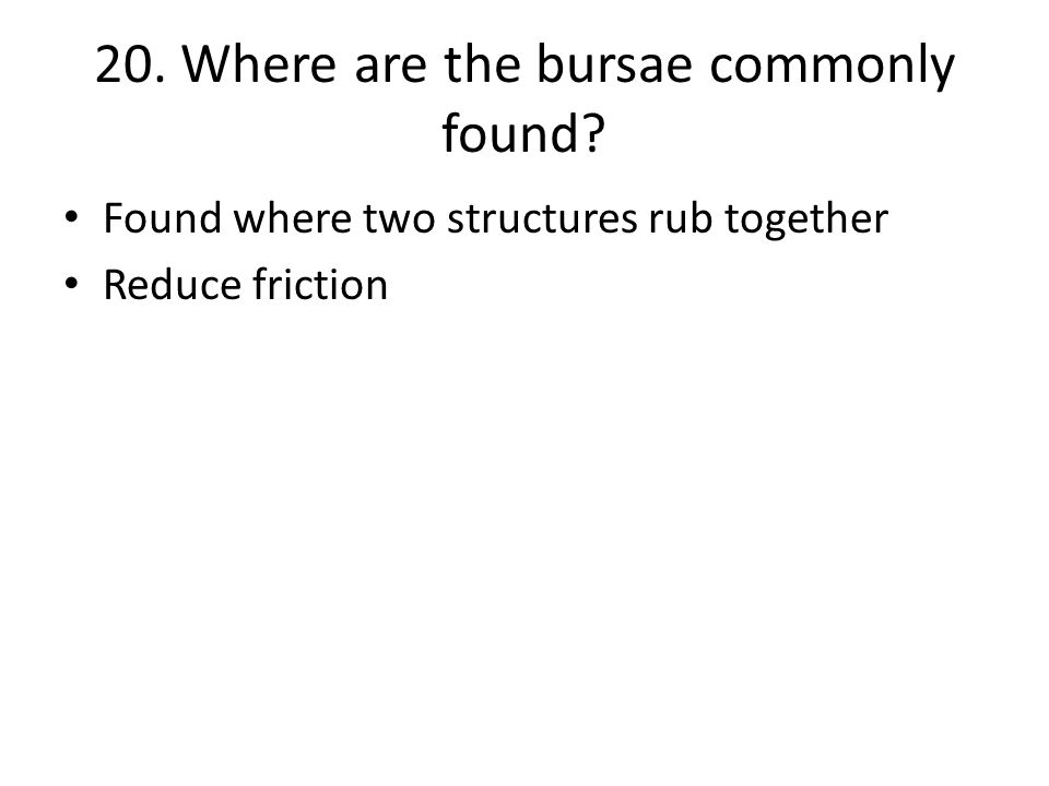 20. Where are the bursae commonly found