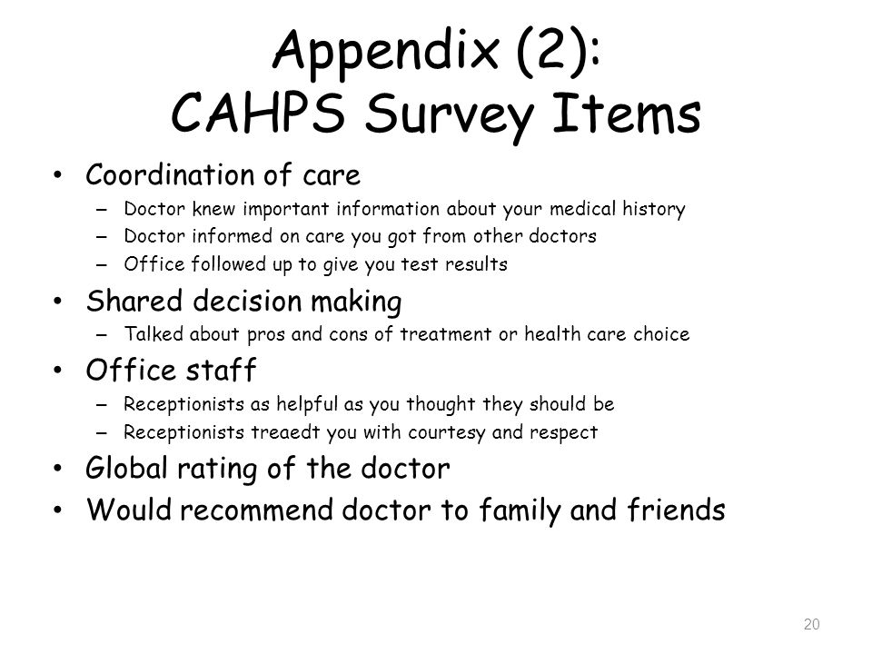 Appendix (2): CAHPS Survey Items