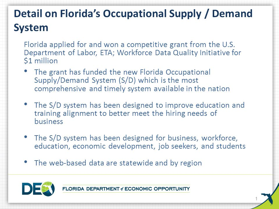 Florida's Supply/Demand System