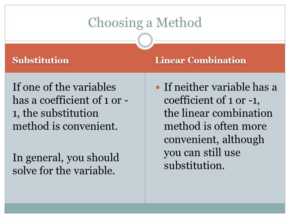 Choosing a Method Substitution. Linear Combination.