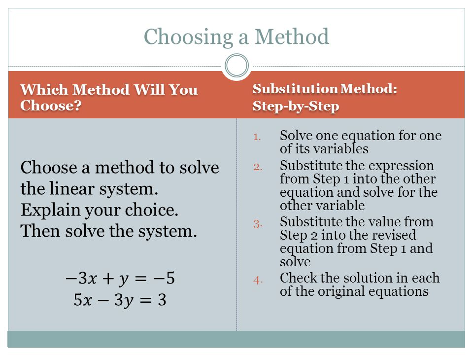 Choosing a Method Which Method Will You Choose Substitution Method: Step-by-Step.