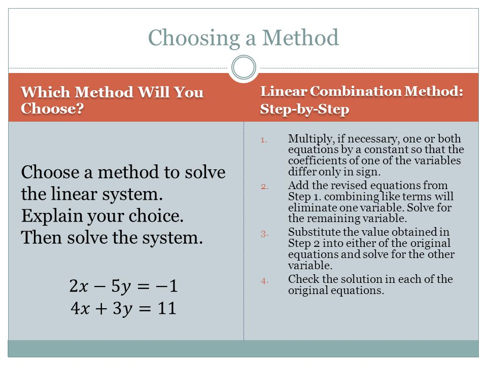 Choosing a Method Which Method Will You Choose Linear Combination Method: Step-by-Step.