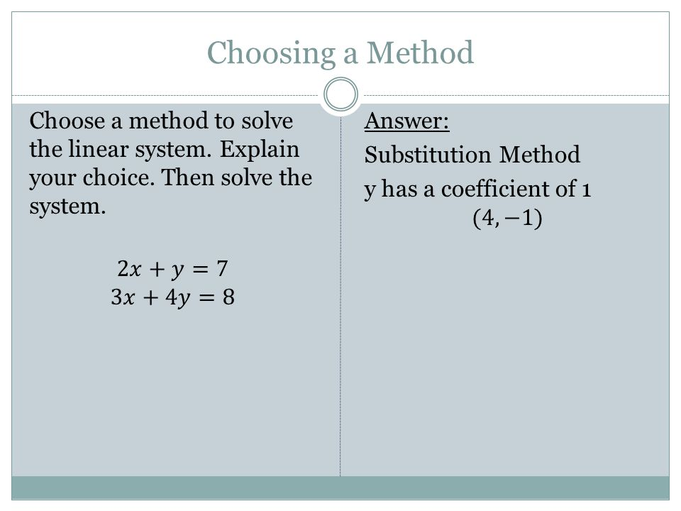 Choosing a Method Choose a method to solve the linear system. Explain your choice. Then solve the system. 2𝑥+𝑦=7 3𝑥+4𝑦=8
