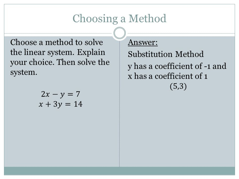 Choosing a Method Choose a method to solve the linear system. Explain your choice. Then solve the system. 2𝑥−𝑦=7 𝑥+3𝑦=14