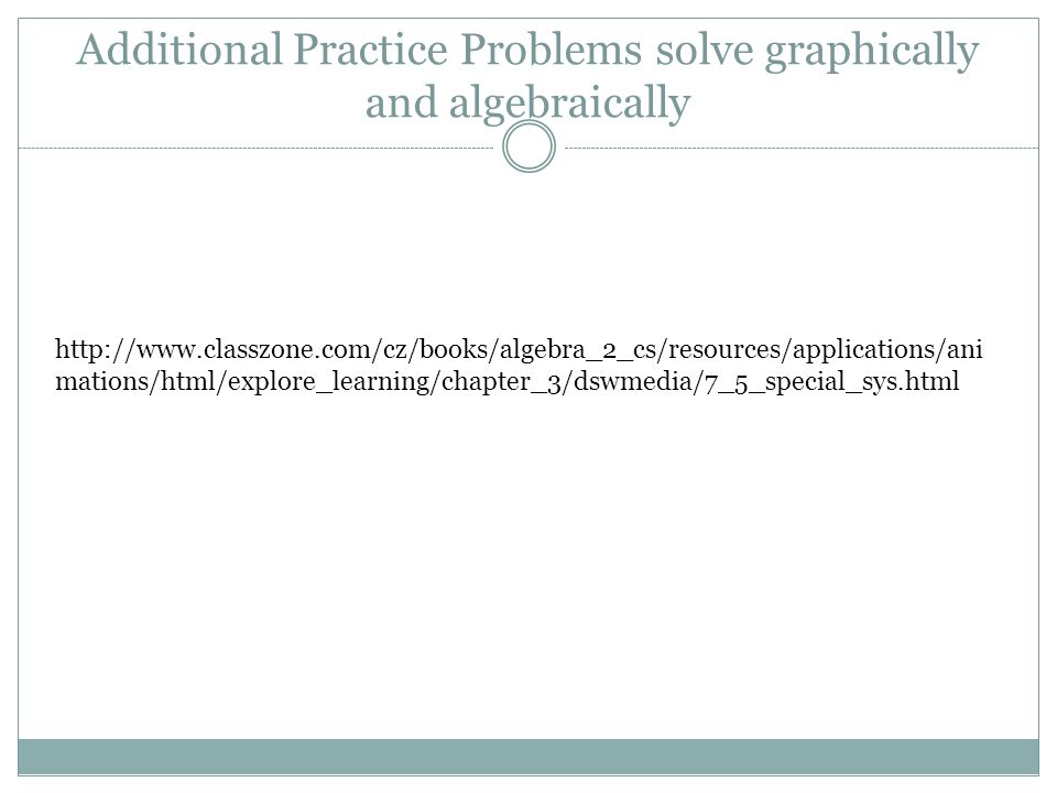 Additional Practice Problems solve graphically and algebraically