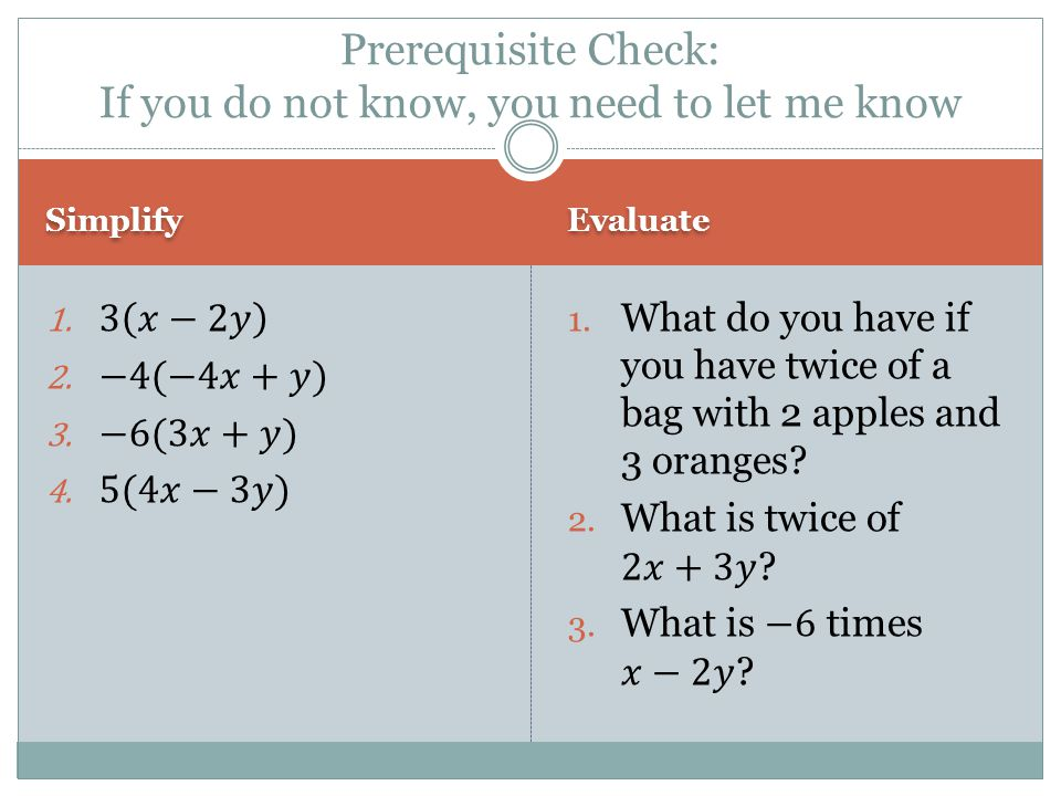 Prerequisite Check: If you do not know, you need to let me know