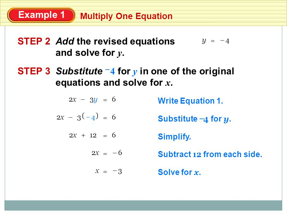 Add the revised equations and solve for y.