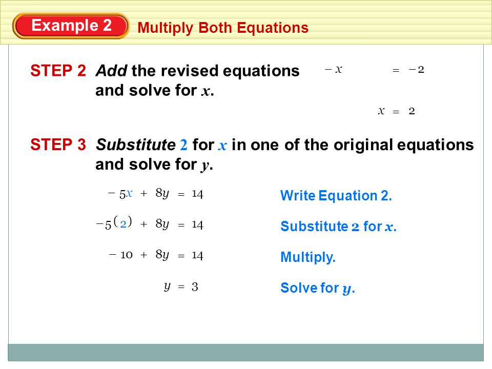Add the revised equations and solve for x.