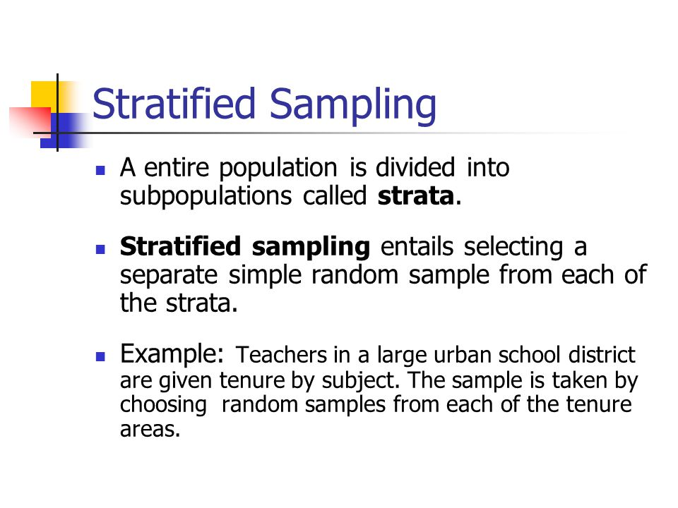 Stratified Sampling A entire population is divided into subpopulations called strata.