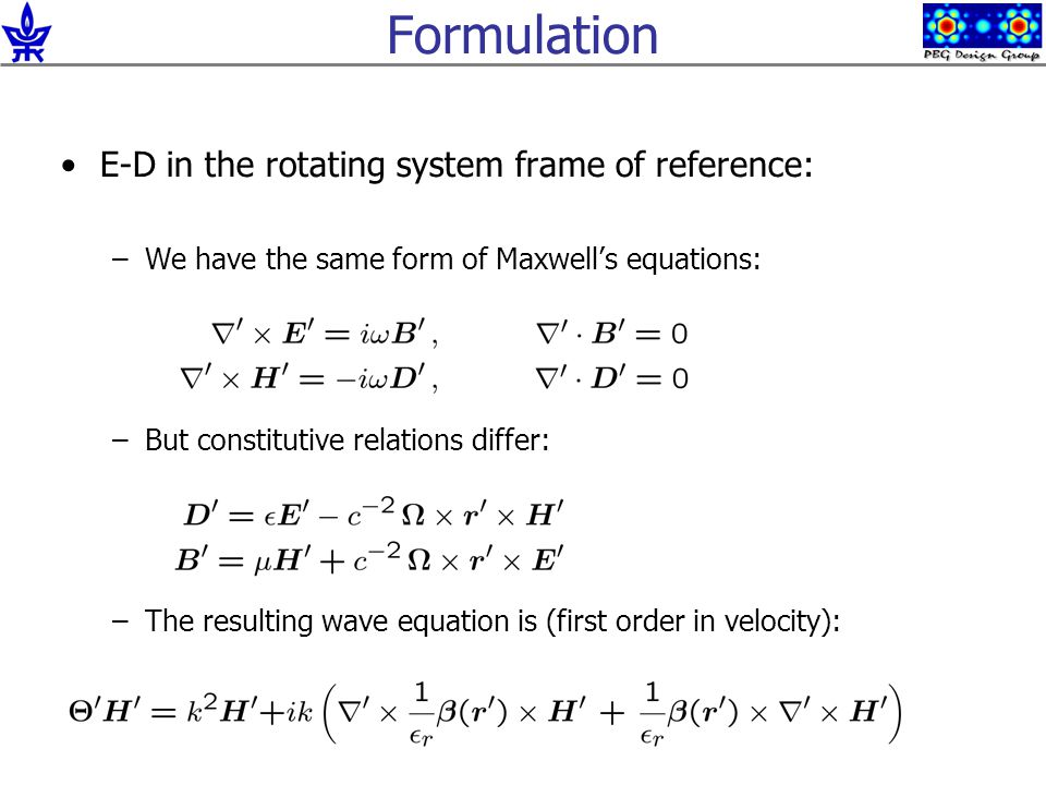 Formulation E-D in the rotating system frame of reference: