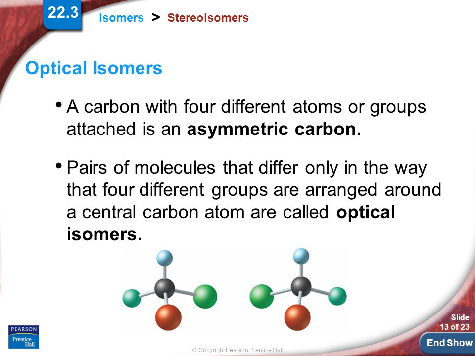 Stereoisomers Optical Isomers. A carbon with four different atoms or groups attached is an asymmetric carbon.