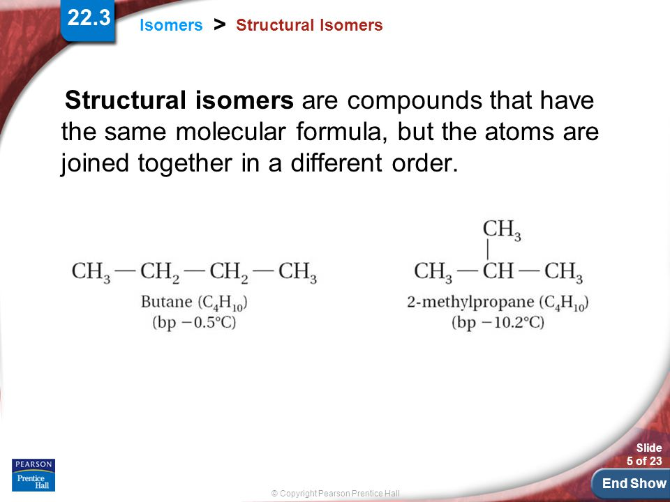 Structural Isomers Structural isomers are compounds that have the same molecular formula, but the atoms are joined together in a different order.