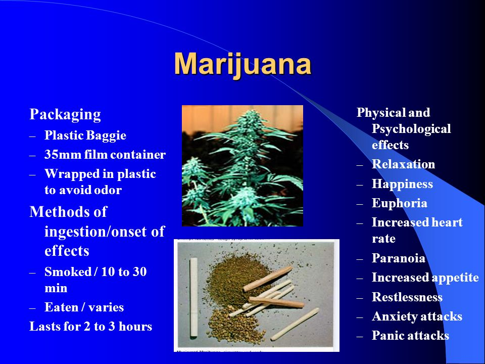 Marijuana Packaging Methods of ingestion/onset of effects