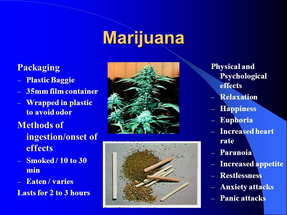 Marijuana Packaging Methods of ingestion/onset of effects