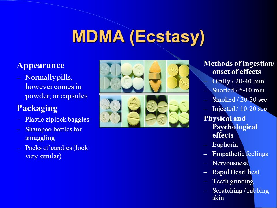 MDMA (Ecstasy) Appearance Packaging