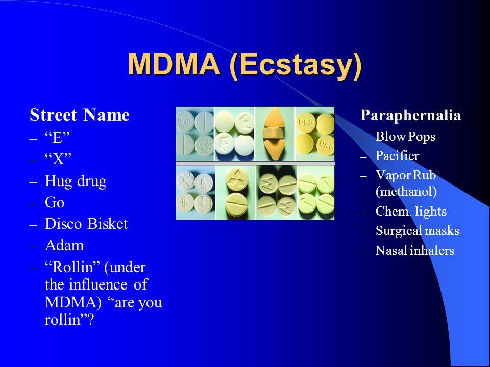 MDMA (Ecstasy) Street Name Paraphernalia E X Hug drug Go