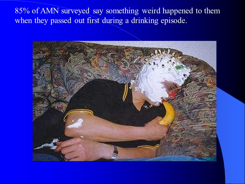 85% of AMN surveyed say something weird happened to them when they passed out first during a drinking episode.