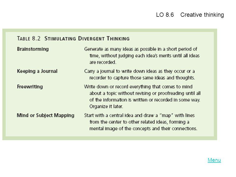 LO 8.6 Creative thinking Menu