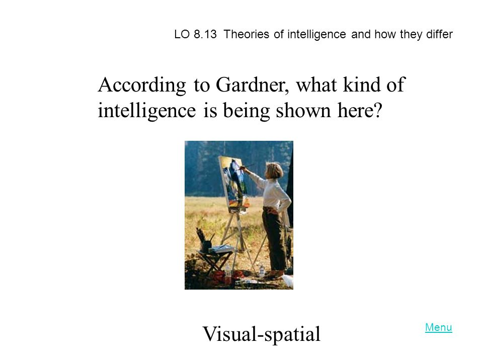 According to Gardner, what kind of intelligence is being shown here
