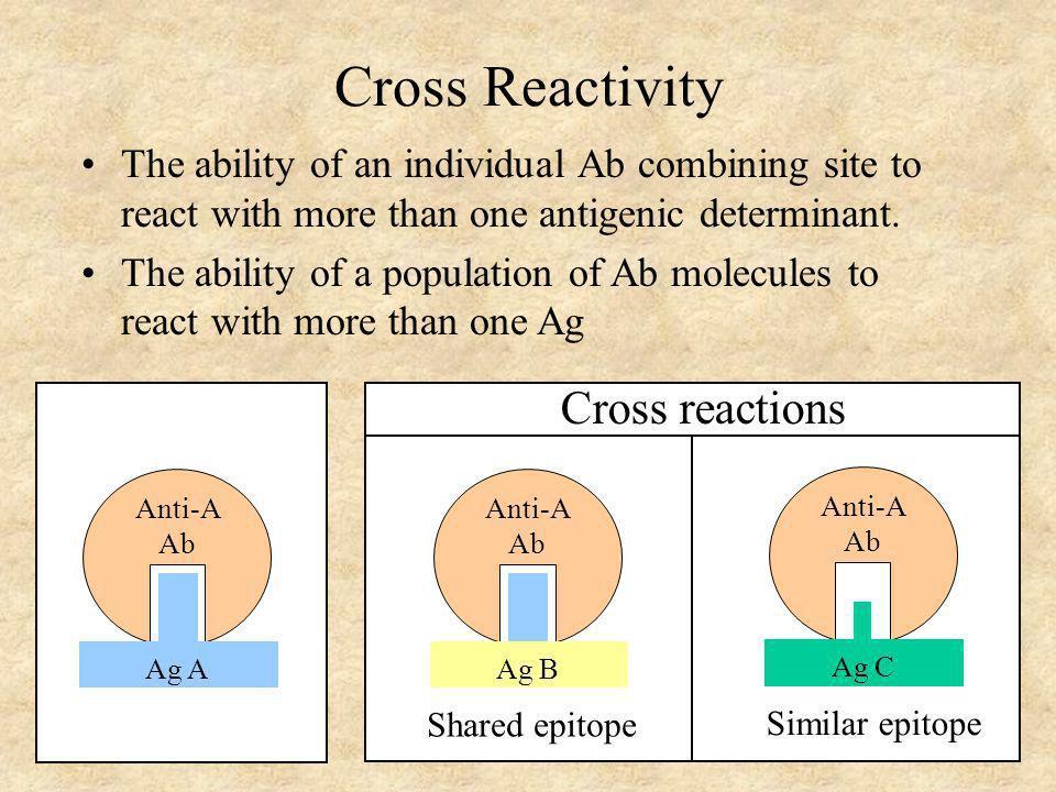 Cross Reactivity Cross reactions