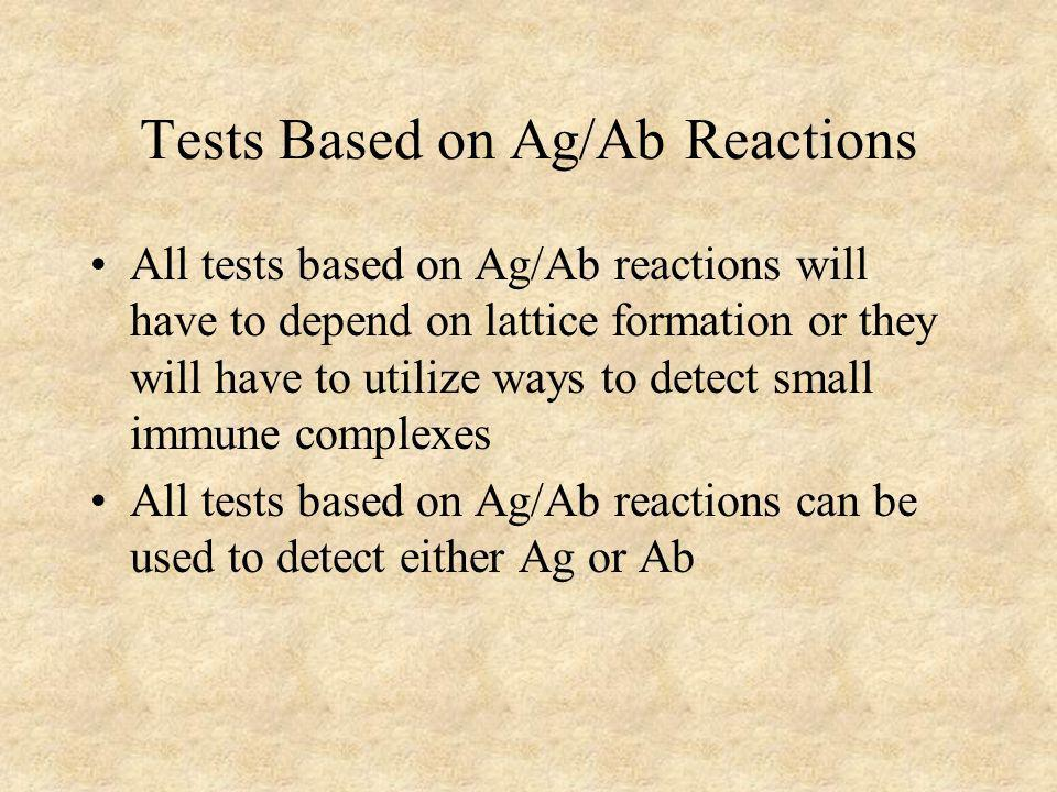 Tests Based on Ag/Ab Reactions