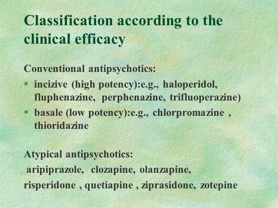 Classification according to the clinical efficacy