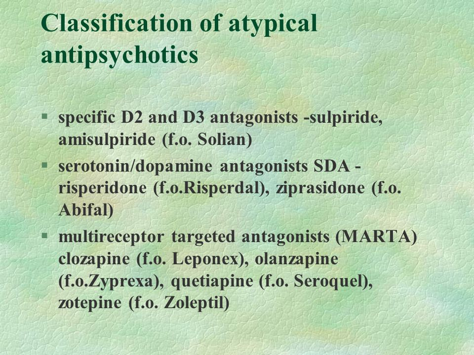 Classification of atypical antipsychotics