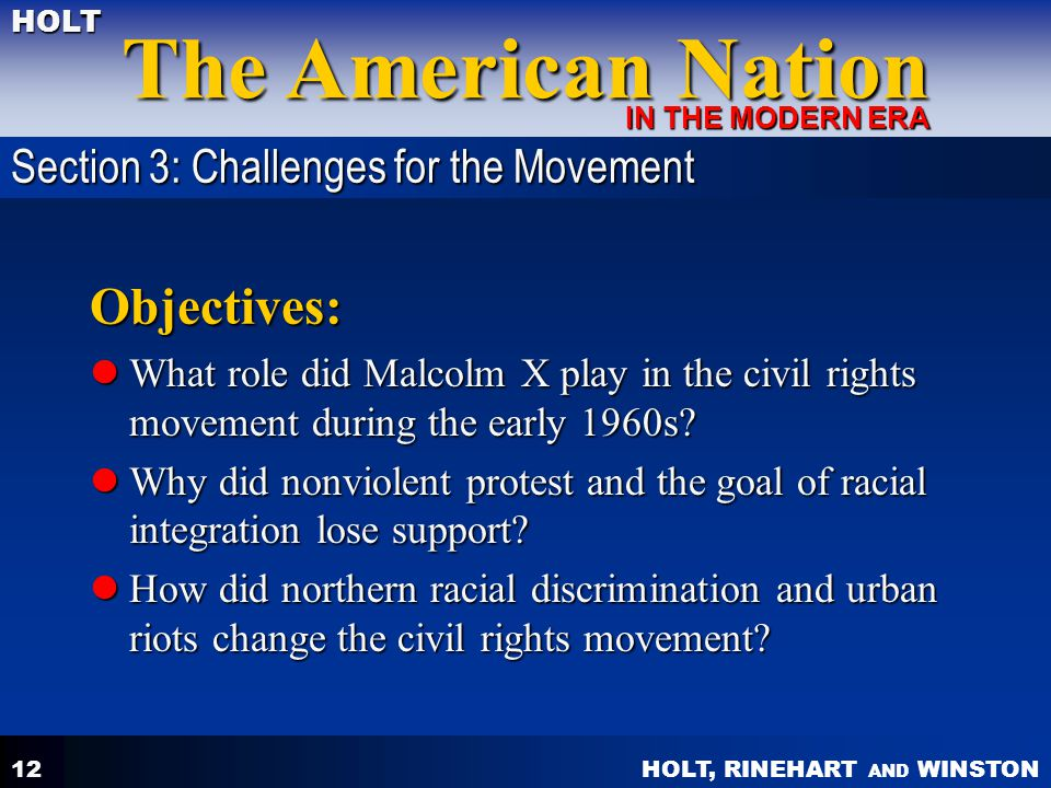 Objectives: Section 3: Challenges for the Movement