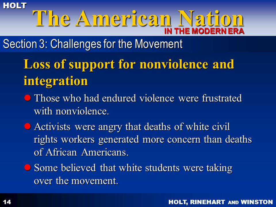 Loss of support for nonviolence and integration