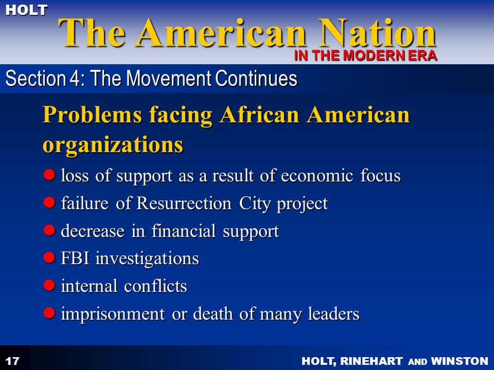 Problems facing African American organizations