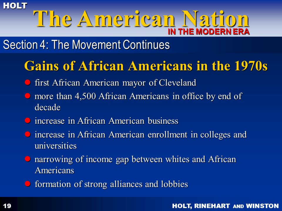 Gains of African Americans in the 1970s