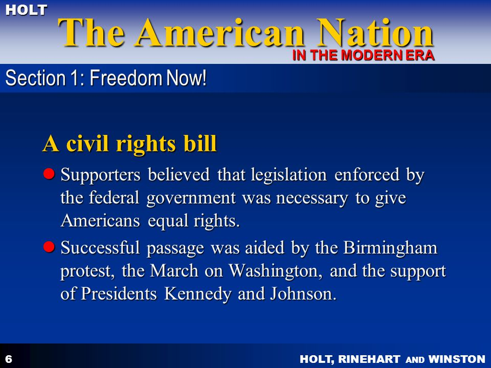 A civil rights bill Section 1: Freedom Now!