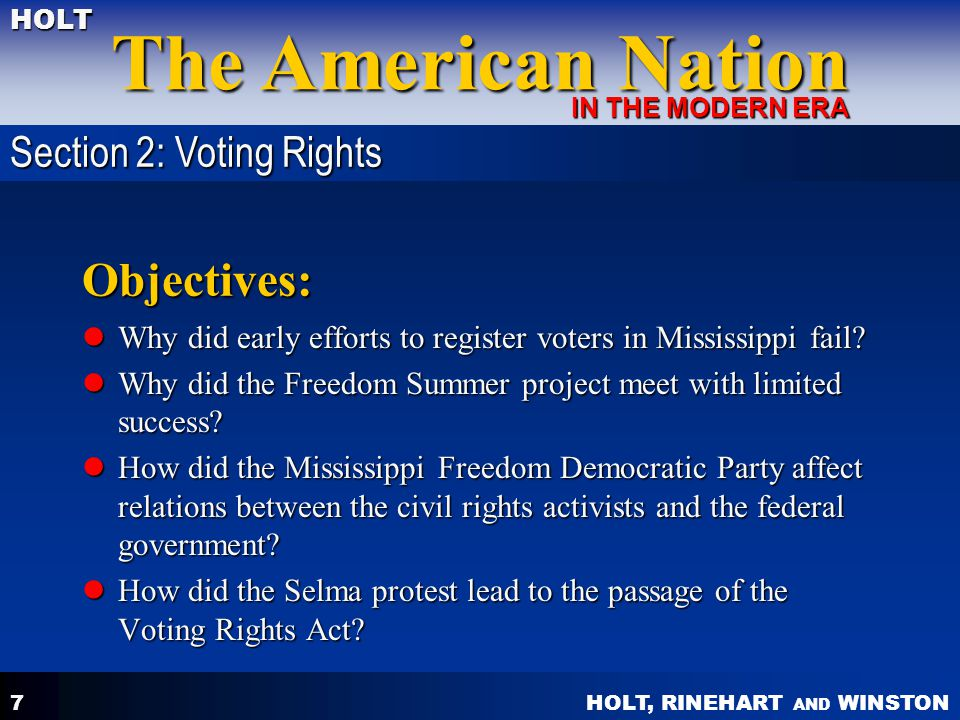 Objectives: Section 2: Voting Rights