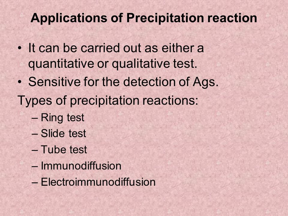 Applications of Precipitation reaction