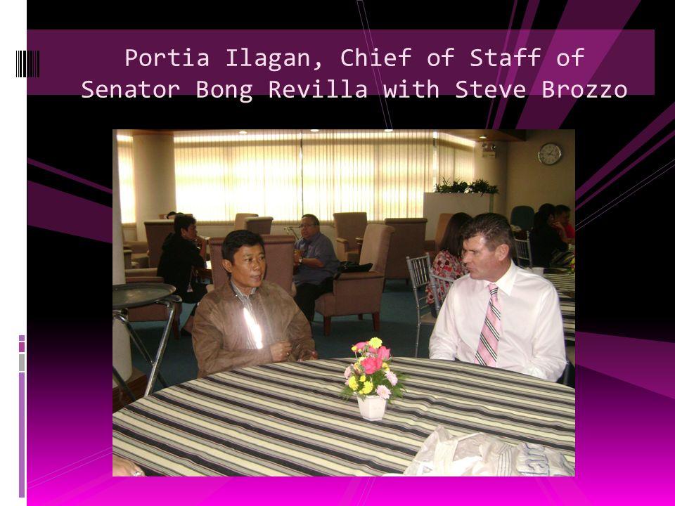 Portia Ilagan, Chief of Staff of Senator Bong Revilla with Steve Brozzo