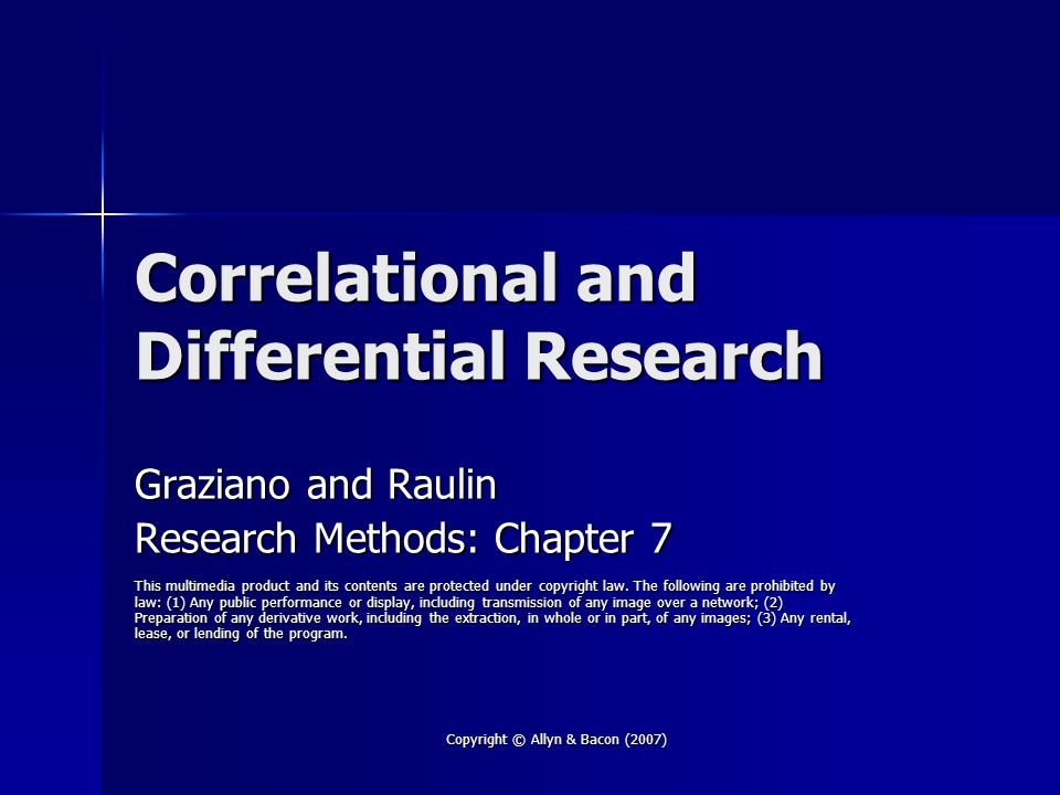 Correlational and Differential Research