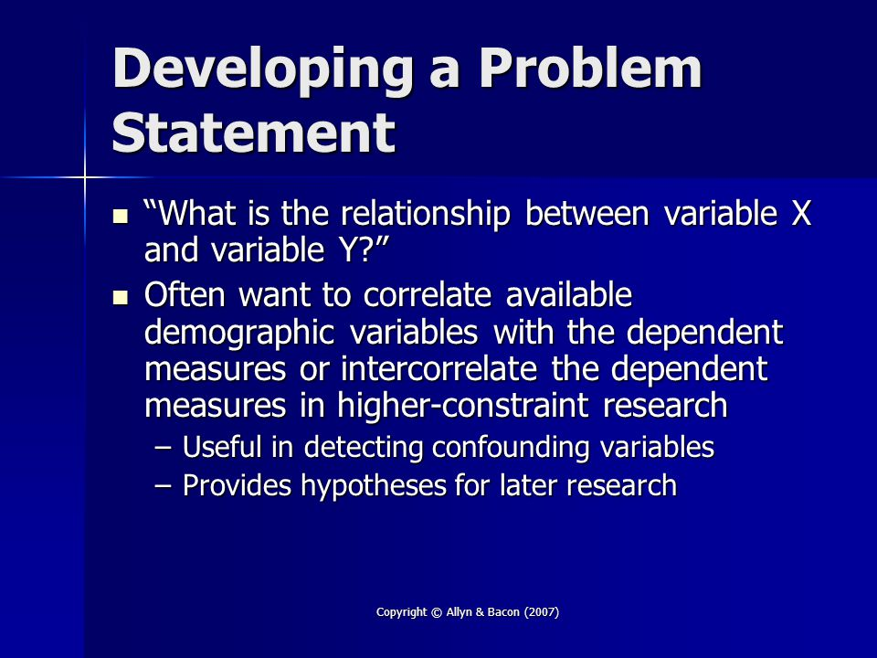 Developing a Problem Statement