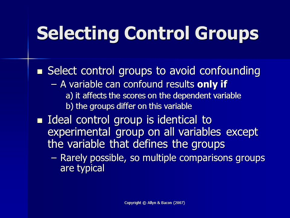 Selecting Control Groups